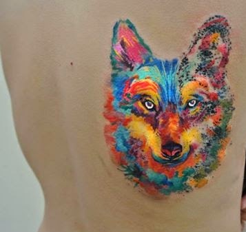Bright Watercolor Wolf Tattoo On Side Back