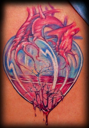Broken And Leaking Glass Heart Tattoo (2)