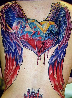 Broken And Leaking Winged Glass Heart Tattoo On Back
