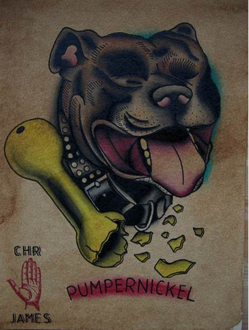 Broken Bone And Dog Tattoos Flash