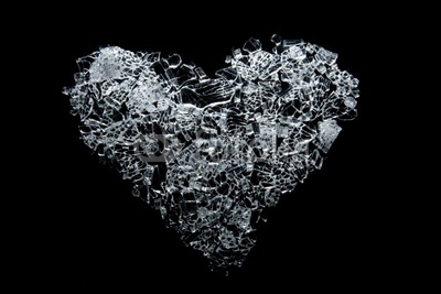 Broken Glass Heart Tattoo Design On Black Background