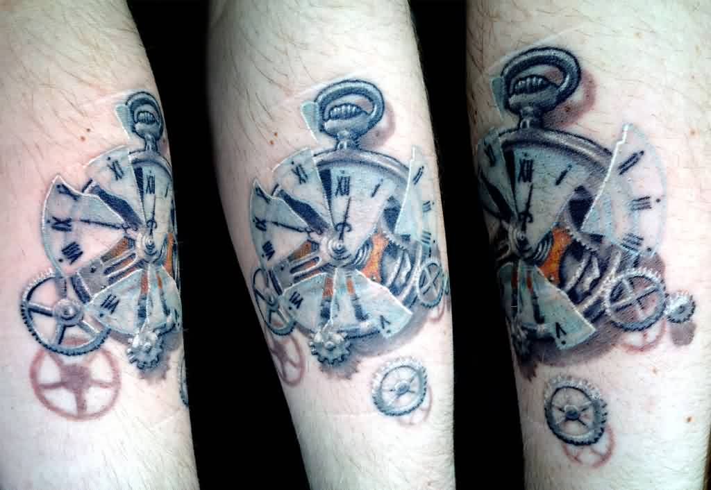 Broken Glass Pocket Watch Tattoo