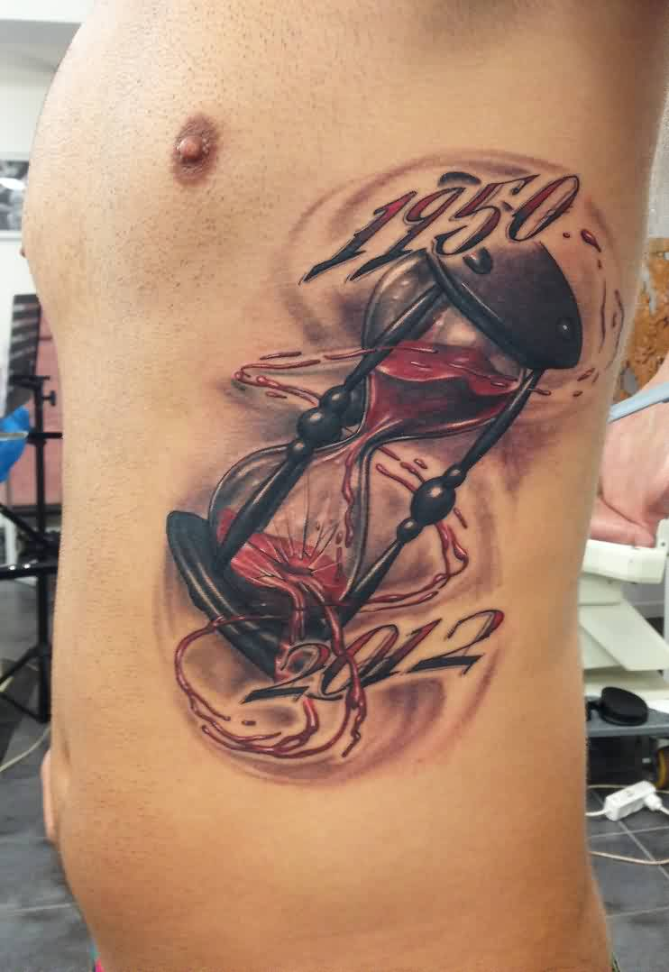 Broken Leaking Hourglass Tattoo On Ribs