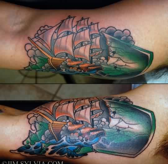 Broken Ship Bottle Tattoo On Arm