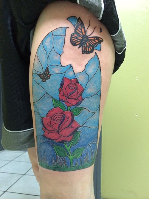 Broken Stained Glass Rose Window With Butterfly Tattoo