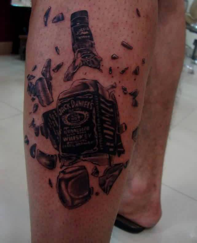 Broken Whiskey Bottle Tattoo On Leg