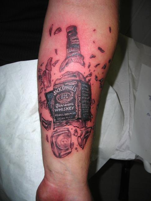 Broken Whiskey Bottle Tattoo On Lower Arm