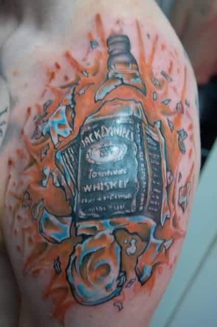 Broken Whiskey Bottle Tattoo On Shoulder For Men