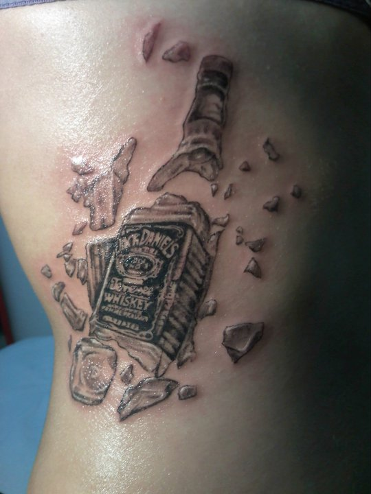 Broken Whiskey Bottle Tattoo On Side