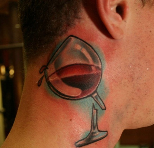 Broken Wine Glass Tattoo On Neck