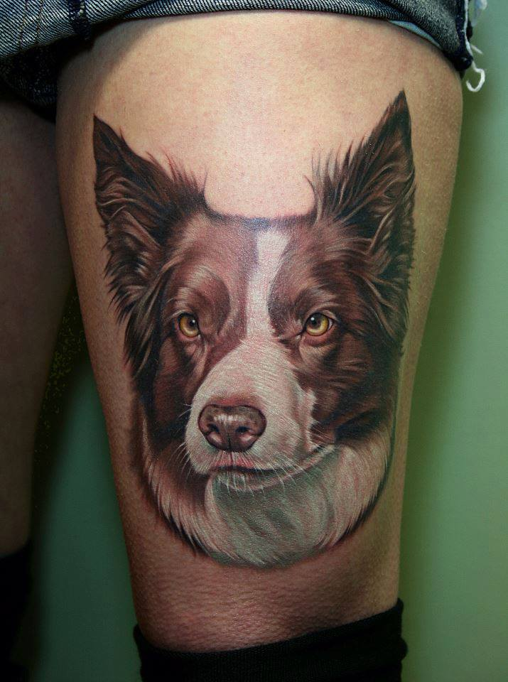 Brown And White Dog Portrait Tattoo On Thigh
