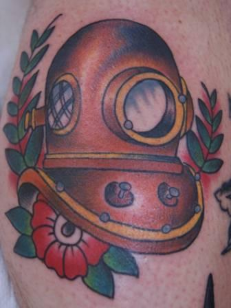 Brown Ink Diver's Helmet Tattoo