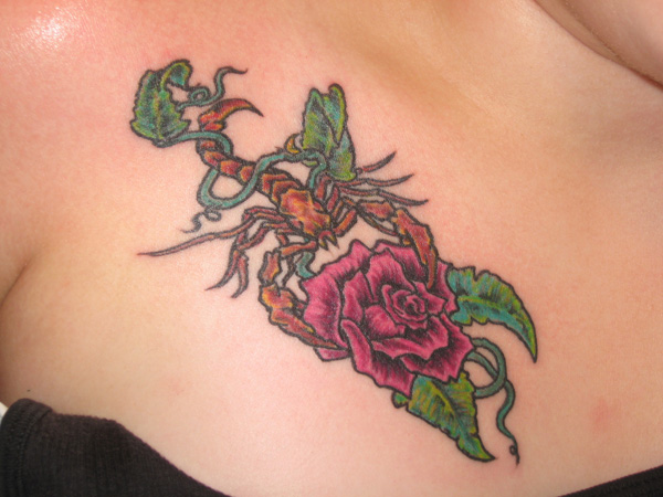 Brown Scorpion Wraped Rose Tattoo