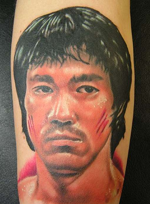 Bruce Lee Scratch Face Portrait Tattoo