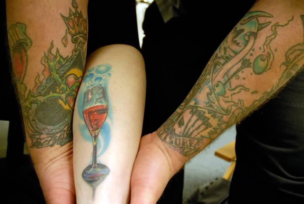 Bubbles And Wine Glass Tattoo
