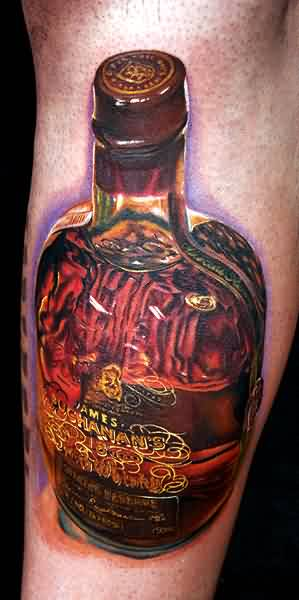 Buchanan's Bottle Portrait Tattoo