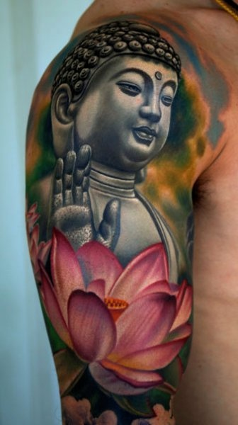 Buddha And Lotus Portrait Tattoos On Sleeve
