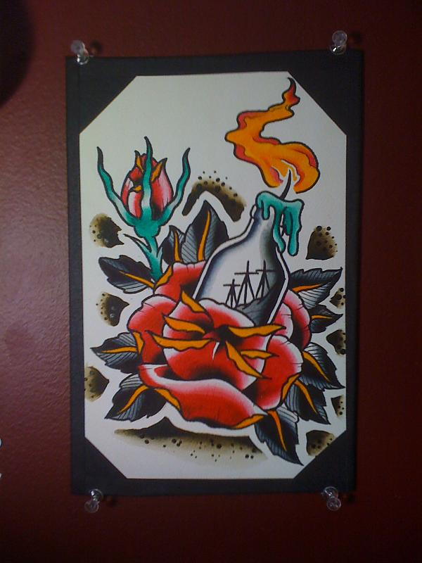 Burning Candle Bottle And Flower Tattoo Designs