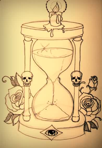 Burning Candle On Hour Glass Tattoo Print