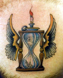 Burning Candle On Hour Glass With Wings Tattoo Print