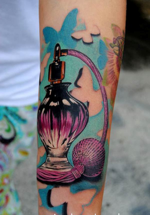 Butterflies And Perfume Bottle Tattoos