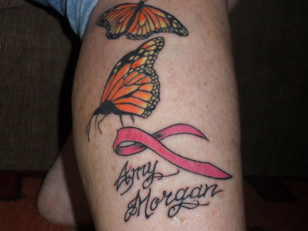Butterflies And Pink Cancer Ribbon Tattoos