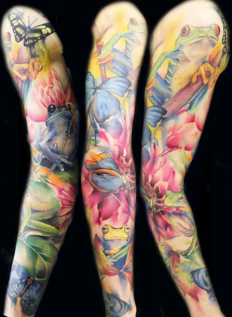 Butterflies Frogs And Tulip Tattoos On Sleeve