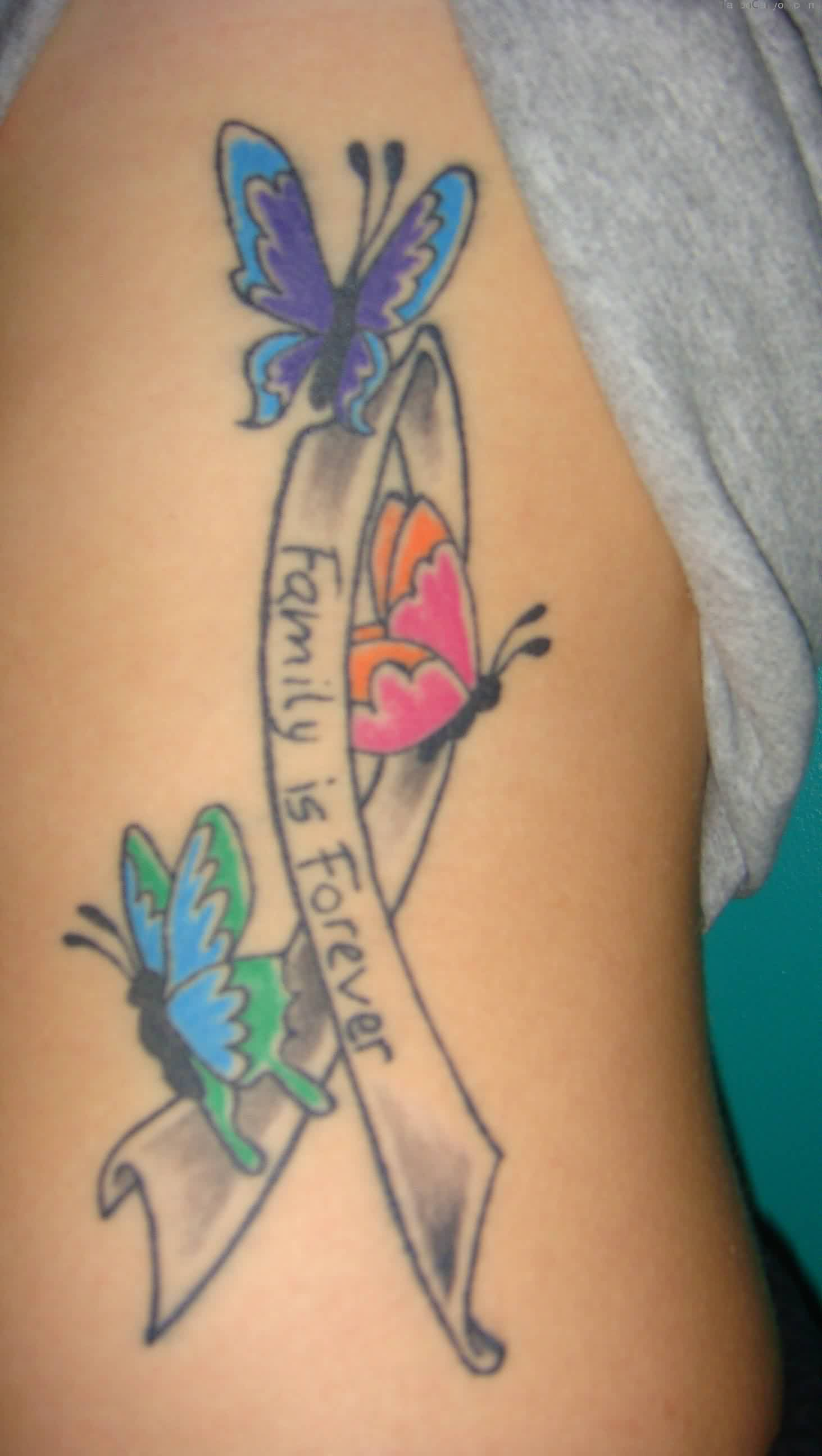 Butterflies On Cancer Ribbon Tattoo