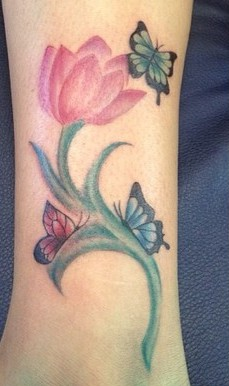Butterflies On Pink Tulip Flower Tattoo