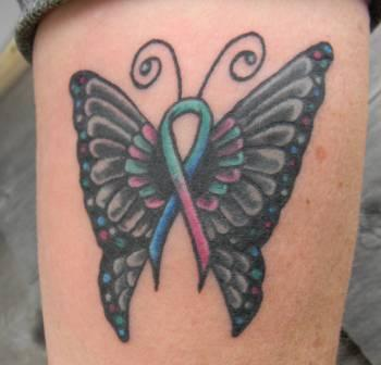 Butterfly Black With Colorful Cancer Ribbon Tattoo