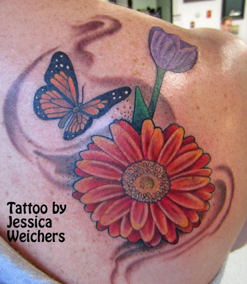 Butterfly Monarch Tulip Flower Smoke Tattoos