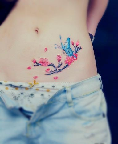 Butterfly On Blossoms Watercolor Tattoos On Belly