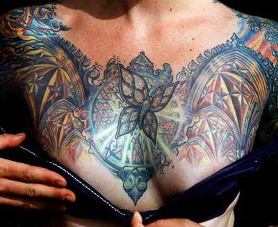 Butterfly On Stained Glass Chestpiece Tattoo