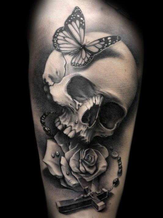 Butterfly Skull And Rose Portrait Tattoos
