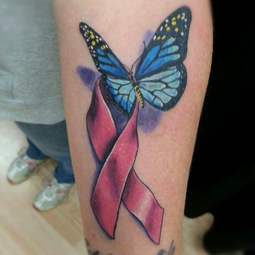 Butterfly With Pink Ribbon Tattoo