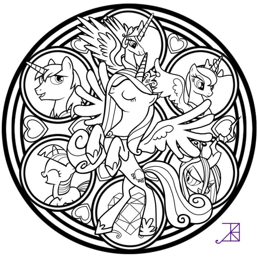 Cadance Stained Glass Tattoo Design Line Art