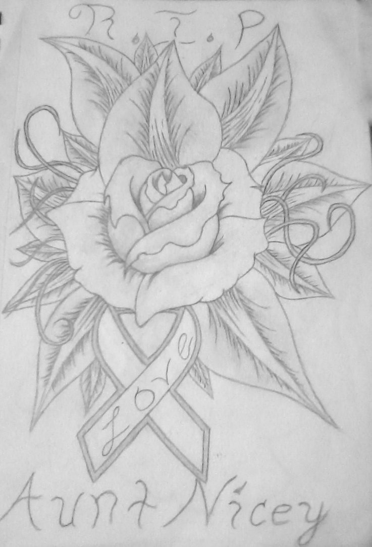 Cancer Ribbon And Rose Tattoo Design