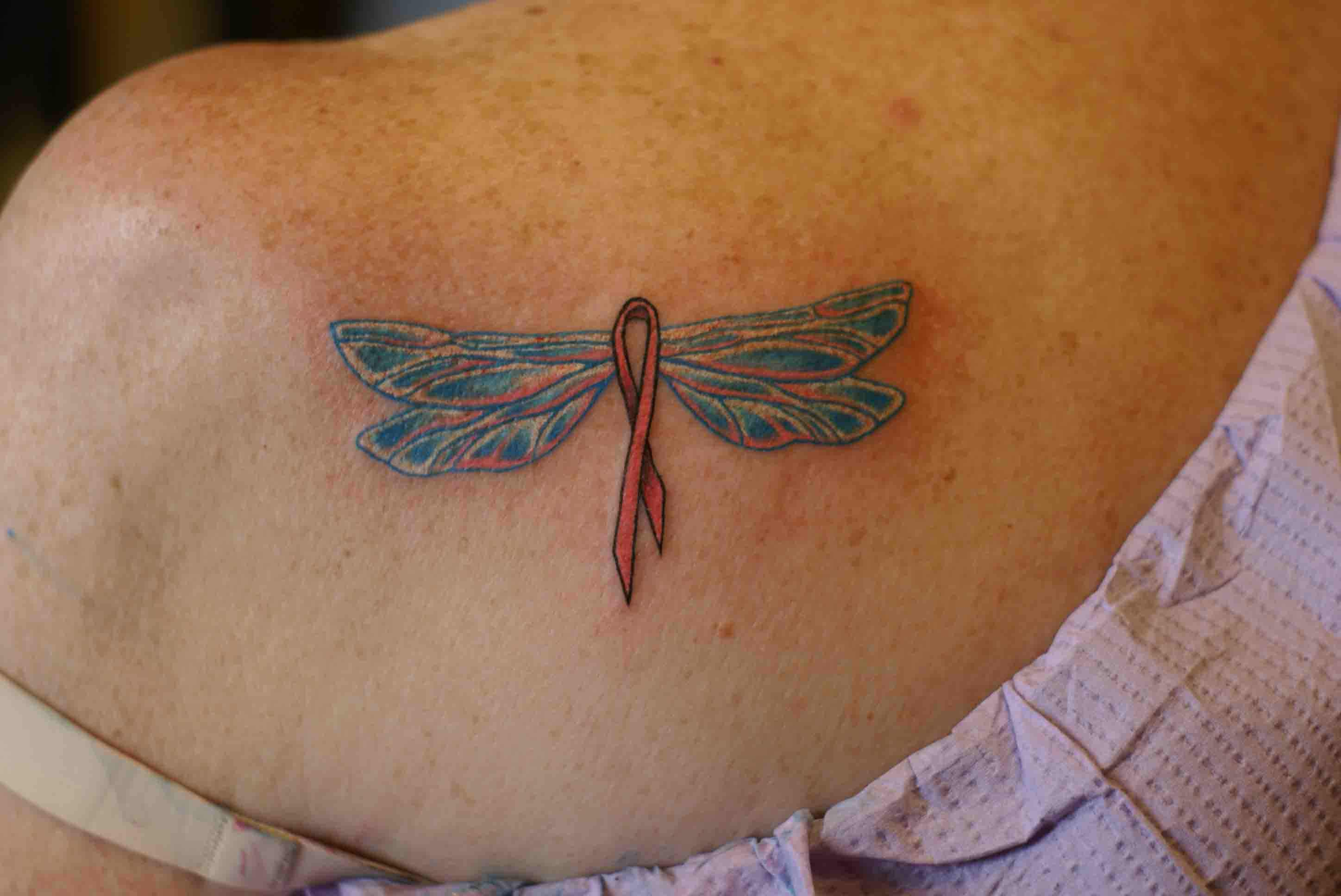 Cancer Ribbon Dragonfly Tattoo
