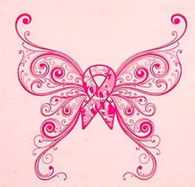 Cancer Ribbon Swirls Butterfly Tattoo Print