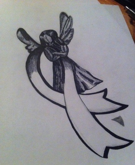 Cancer Ribbon Tattoo Design