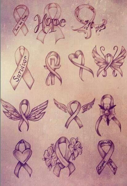 Cancer Ribbon Tattoo Designs