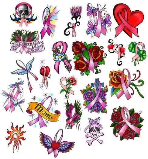 Cancer Ribbon Tattoos Collection