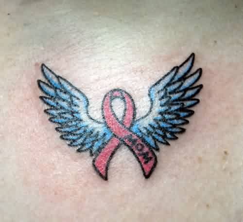 Cancer Ribbon With Wings Tattoo (2)