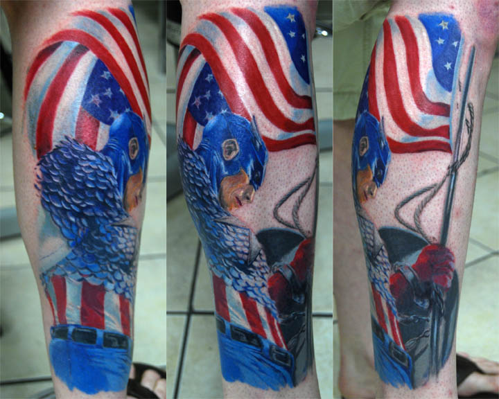 Captain America Leg Sleeve Tattoo