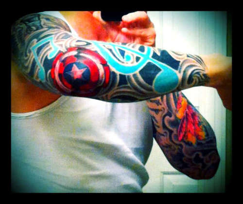 Captain American Logo Tattoo On Elbow