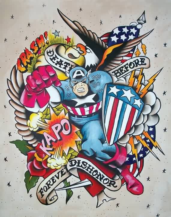 Captain American Tattoo Flash