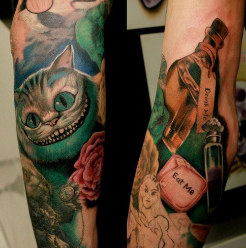 Cat And Bottle Portrait Tattoos On Arm