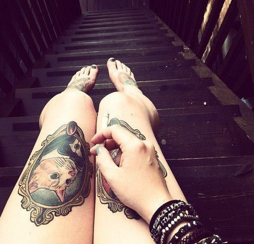 Cat Portrait Frame Tattoo On Left Thigh