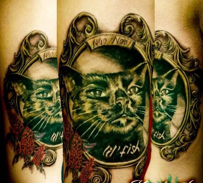 Cat Portrait In Frame Tattoos