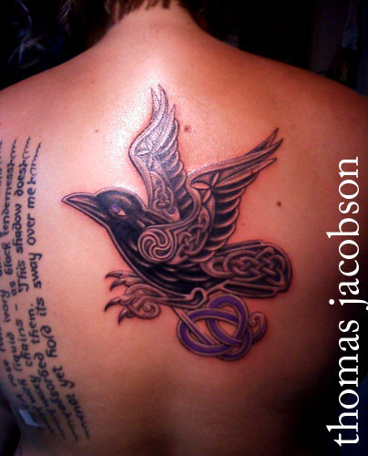 Celtic Bird With Purple Ribbon Tattoo On Upperback